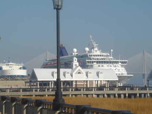 Waterfront in Charleston SC and Norwegian Majesty cruise ship