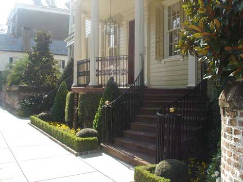 Beautifully landscaped walkway in Charleston SC