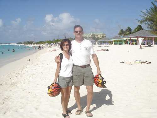Rosella and Bill on Seven Mile Beach in Grand Cayman