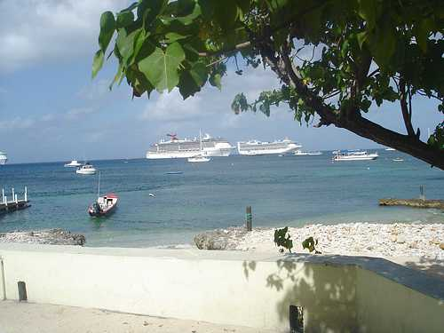 Cruise ships moored in the Cayman Islands