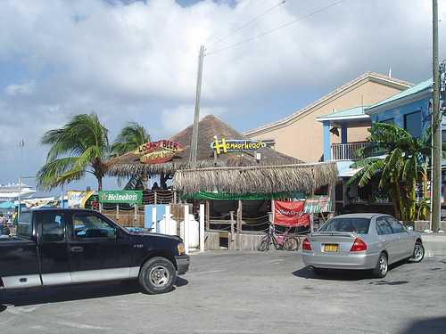 Thatch roofed business in Cayman Isle