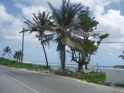 Waterfront highway on the south side of Grand Cayman